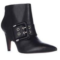 Nine West Pickme Pointed-Toe Buckle Ankle Boots, Black Leather, 5.5 US