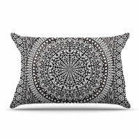 "Nika Martinez ""Mandala Bandana"" Black Abstract Pillow Case"