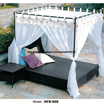 Leisure Beach Swing Pool Sofa Bed PE Rattan Lying Bed Sofa with Side Table Outdoor Holiday Sun bed lounge sofa bed Furniture