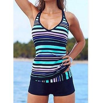 Blue Purple Striped Tankini Modest Swimsuit Bathing Suit US Shipping