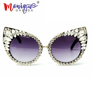 2018 Sunglasses Women Luxury sun glasses Crystal Decoration Cat Eyes Sexy Sunglasses Vintage Shades Cool Oculos Dropshipping