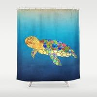 Sea Turtle Shower Curtain -  Watercolor Art, Sea Turtle, Surf, beach, undersea, ocean,  blue, coastal decor, bathroom