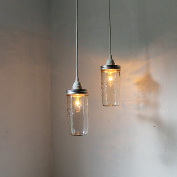 Stargaze Mason Jar Pendant Lamps - Set of 2 Rustic Hanging Lighting Fixtures - Upcycled Modern Minimalist Country BootsNGus Home Decor
