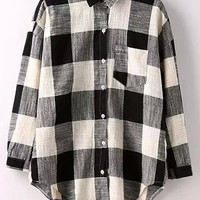 Black and White Plaid Long Sleeve Top