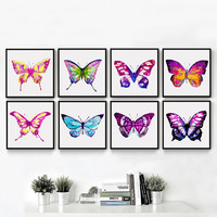 Watercolor Insects Beautiful Colorful Butterfly Print Poster Canvas Painted on the Wall Picture Modern Home Decoration AN052