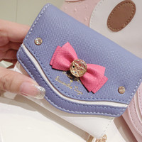 Samantha Vega Sailor Moon Wallet Women Lady Short Wallets Purse Female Candy Color Bow Knot PU Leather for Coin Card Clutch Bag