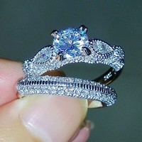 Round Cut 925 Sterling Silver Simulated Diamond Wedding Engaget Finger Wo Ring