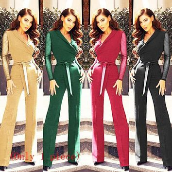 New women's V-neck waist splicing wave point long sleeve jumpsuit(Only 1 piece)
