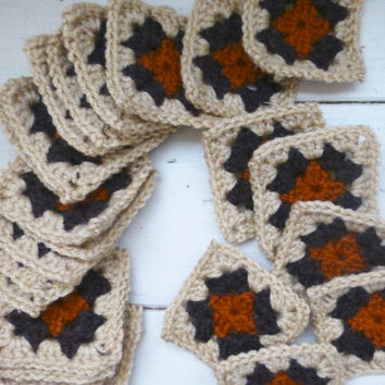 Crochet Granny Square, tan squares, crochet afghan squares, ready to ship, hand crochet, granny squares for sale, fall colors