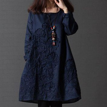 2019 Women's Clothing Loose Dress Round Neck Long Sleeve Embroidery Dress Elegant Casual Cotton Linen Dress