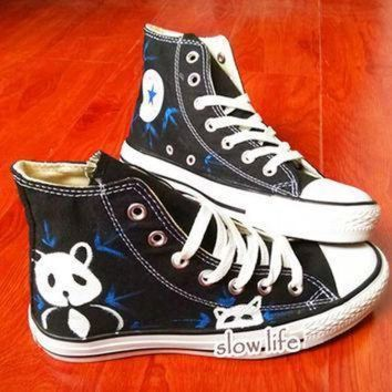 DCCKGQ8 national treasure panda painted shoes lovely panda shoes converse canvas shoes custom