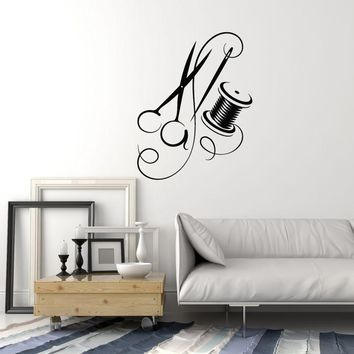 Vinyl Wall Decal Tailoring Needle Thread Scissors Tailor Atelier Stickers Mural (ig5429)