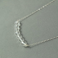 Beautiful Clear Crystal Beads Necklace, Wire Wrapped Beads, 925 Sterling Silver Chain, Wonderful Jewelry