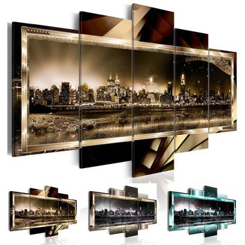 5 Pcs/set Canvas Print (No Frame) Abstract New York City Landscape Night View Wall Decoration Canvas Painting for Living Room Gi