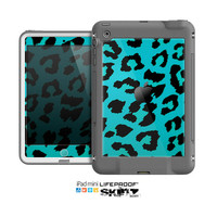 The Hot Teal Vector Leopard Print Skin for the Apple iPad Mini LifeProof Case