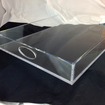 Clear Acrylic Lucite Set of 2 Butler Serving Trays/Ottoman Covers
