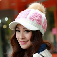 2016 Autumn Winter Women's Fashion Knitting Warm Hat Skullies Beanies Add Wool Letters Peaked Caps Multicolor