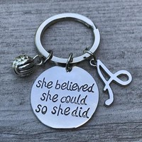 Personalized Volleyball Keychain with Initial Charm