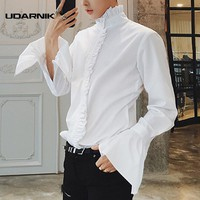 Men Gothic Shirt Top Victorian Ruffle Collar Punk Steampunk Puff Sleeve Vintage Fashion Retro Black White New 904-918