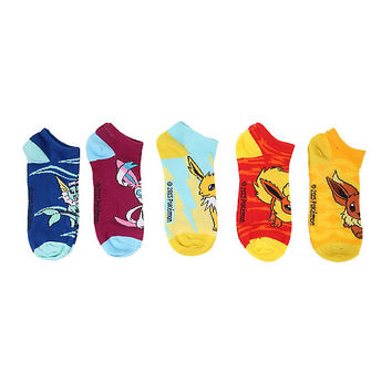 Pokemon Eevee Evolution Mix & Match Ankle Socks 5 Pair
