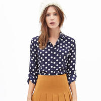 Blue And White Polka Dot  Long Sleeves Chiffon Blouse