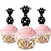 6 pcs in one set cartoon giraffe CupCake toppers for birthday party cake decor, acrylic cupcake toppers for baby shower, disney cake topper