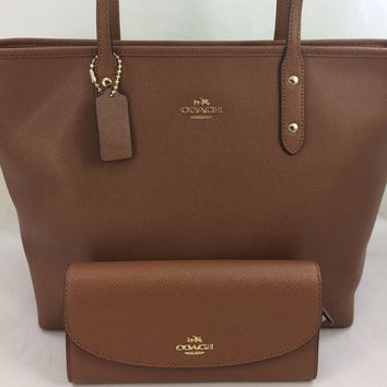 New Authentic Coach F58846 Crossgrain Leather City Zip Tote Shoulder Bag Saddle+Wallet