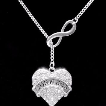 Infinity Crystal John 3:16 Bible Scripture Christian Faith Gift Lariat Necklace