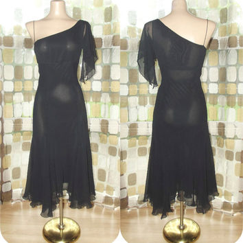 Vintage 90s Retro 30s Black Silk Bias One Shoulder Cocktail Dress 5/6 Gown Flapper Gatsby EXPRESS