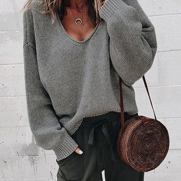 Dark Gray V-neck Long Sleeve Women Knit Sweater