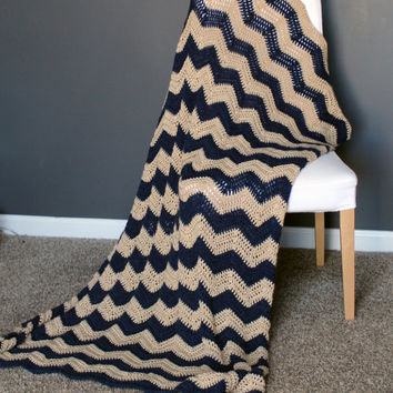 Chevron Afghan Throw Blanket Crochet - Dark Blue and Light Brown Striped Ripple Zig Zag - Made To Order