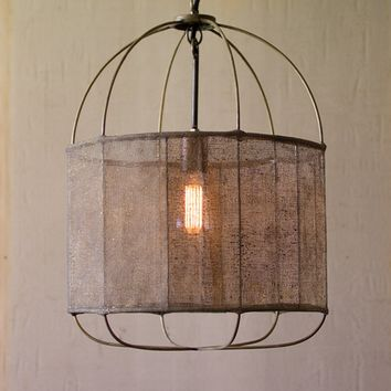 Metal Drum Pendant Light with Vintage Fabric Shade -- 20-in