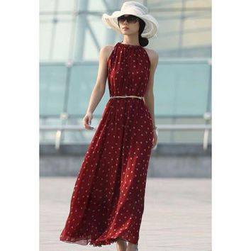 Wine Red Polka Dot Sleeveless Chiffon Maxi Dress
