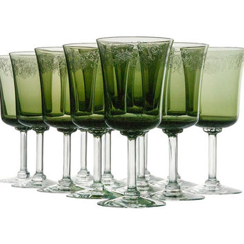 Vintage Fostoria Cameo Green Water Goblets Wine Glasses Set of 12 Etched Crystal Stems Stemware Holiday Dining