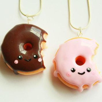 Donut Kawaii Necklacekawaii Necklacedonut Jewelrykawaii Polymer Clay Charmsfood Jewelry