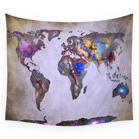 Society6 Stars World Map. Space. Wall Tapestry