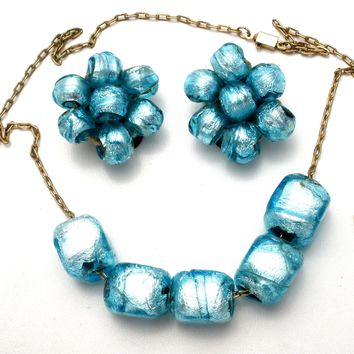 Italian Venetian Murano Blue Foil Glass Bead Necklace Set