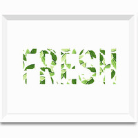 Fresh Mint leaves Art Typographic Print Green Fern Print Fresh summer Decor Green and White Scandinavian Nature Botanical Decor Bathroom Art