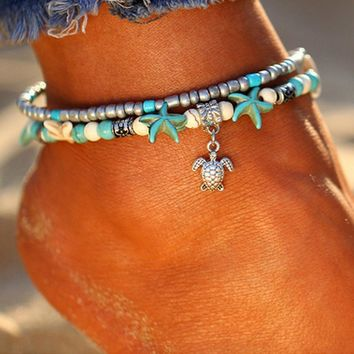 Turquoise Beads Sea Turtle Anklet Beach Sandal Ankle Bracelet