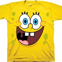 Spongebob Square Pants Simle Big Face Yellow Childrens T-shirt