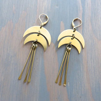 Crescent Moon Earrings Drop Half Moon Chandelier Boho Bohemian Ear Jewelry