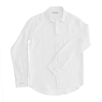 98 Coast Av Linen Shirt White