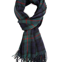 FOREVER 21 Woven Tartan Plaid Scarf Dark Green/Navy One