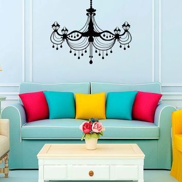 Chandelier Wall Decal Vinyl Sticker Decals Art Home Decor Mural Chandelier Light Vintage Candles Living Room Nursery Bathroom Dorm AN486