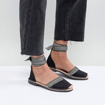 Solillas Black Leather Ankle Tie Menorcan Sandals at asos.com
