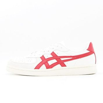 asics onitsuka tiger gsm white red unisex running shoes sneakers trainers  number 1