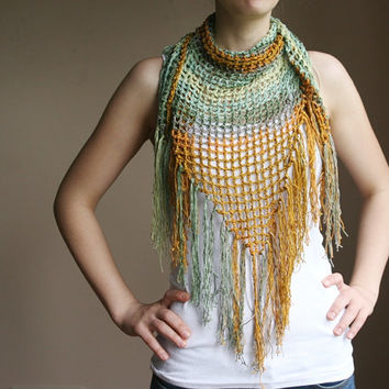 Scarf in Shades of Green and Mustard Yellow with Fringes - Pareo -Spring Summer Fashion - Women Teens Accessories - Wrap - Shawl  - Beach