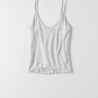 AEO Soft & Sexy Lettuce Hem Tank, Heather Gray