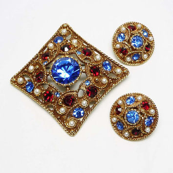 Patriotic Rhinestone Brooch & Earring Set - Diamond Shaped Pin and Round Button Earrings - Red White Blue Rhinestones and Faux Pearls