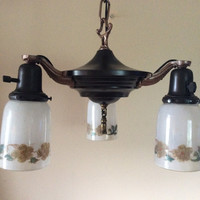 Antique Victorian Pan Light Chandelier 3 Original Hand Painted Shades 1920s Vintage